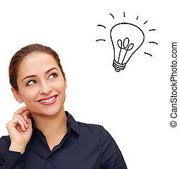 vrolijke , denkende vrouw, kijkend, met, idee, bol, boven,...