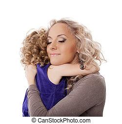 vrolijke , dochter, het koesteren, haar, moeder