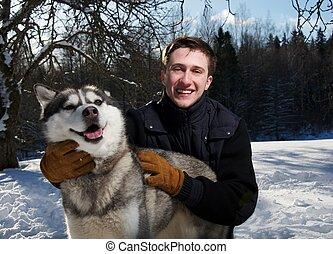 vrolijke , dog, man
