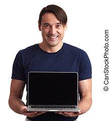 vrolijke , draagbare computer, vrijstaand, computer., optredens, man