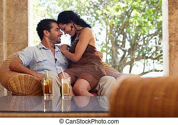 vrolijke , echtgenoot en vrouw, doen, honeymoon, in, vakantiepark
