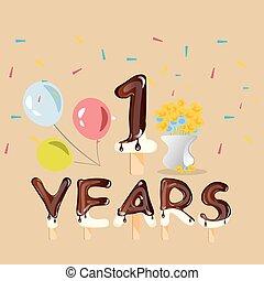 vrolijke , eerst verjaardag, verjaardag kaart