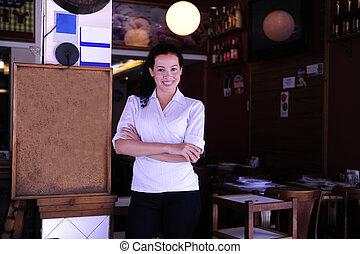 vrolijke , eigenaar, van, een, restaurant