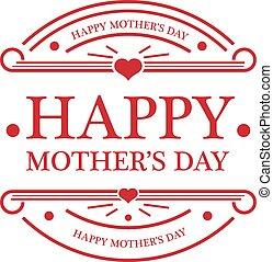 vrolijke , embleem, dag, moeders