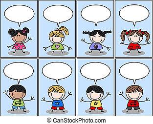vrolijke , ethnische , gemengd, kinderen