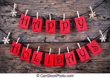 vrolijke , feestdagen, begroetenen, op, een, lijn