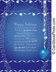 vrolijke , feestdagen, begroetenen, op, velen, talen,...