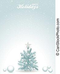 vrolijke , feestdagen, blauwe achtergrond, met, kerstboom