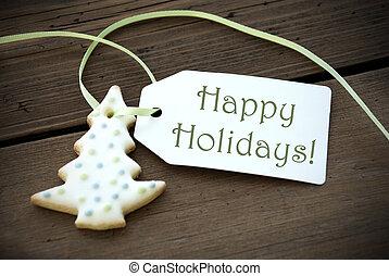 vrolijke , feestdagen, etiket, met, kerstmis koekje