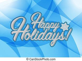 vrolijke , feestdagen, meldingsbord, blauwe achtergrond