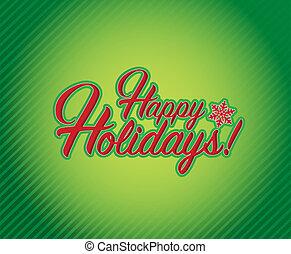 vrolijke , feestdagen, meldingsbord, groene achtergrond