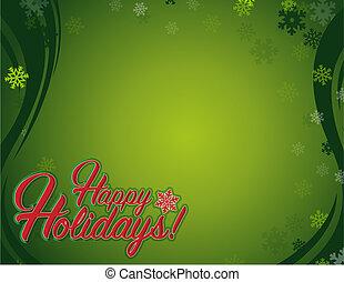 vrolijke , feestdagen, meldingsbord, rood, sneeuwvlok, achtergrond