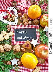 vrolijke , feestdagen, met, de koekjes van kerstmis