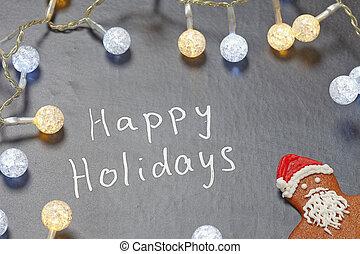 vrolijke , feestdagen, tekst, op, chalkboard