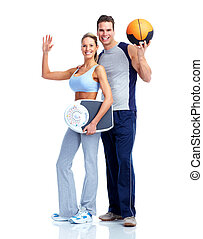 vrolijke , fitness, paar.