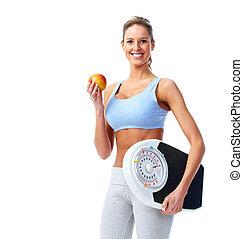 vrolijke , fitness, vrouw, met, een, schalen.