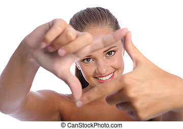vrolijke , frame, meldingsbord, vinger, plezier, meisje, hand, tiener
