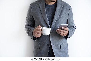 vrolijke , gebruiken, ruimte, koffie, telefoon, achtergrond, glimlachen, witte , kopie, man