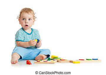 vrolijke , geitje, spelend, speelgoed