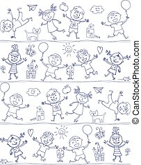 vrolijke , geitje, spotprent, doodle., tekening, zoals, kinderen