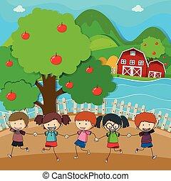 vrolijke , geitjes, appel boomgaard, spelend