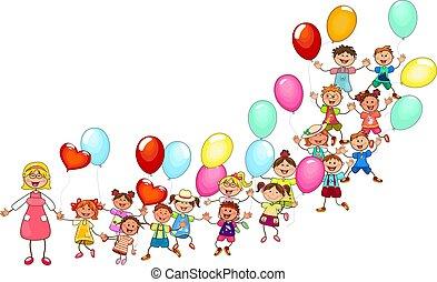 vrolijke , geitjes, ballons, wandeling