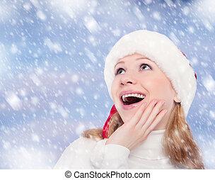 vrolijke , gekke , meisje, in, een, kerstmis hoed, op, winter, achtergrond