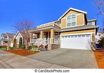 vrolijke , gele, nieuw huis, buitenkant, foto, gedurende,...