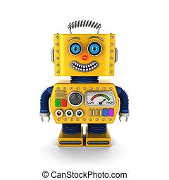vrolijke , gele, ouderwetse , speelgoed robot, het glimlachen