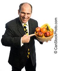 vrolijke , gezonde , man, met, kom van de vrucht