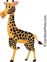 vrolijke , giraffe, spotprent