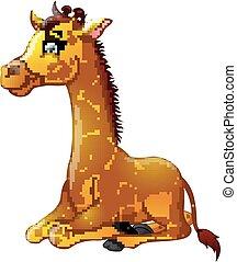 vrolijke , giraffe, spotprent, zittende