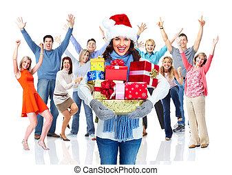 vrolijke , groep, kerstmis, mensen