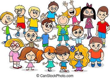 vrolijke , groep, spotprent, karakters, kinderen
