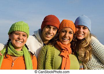 vrolijke , groep, van, gemengde race, geitjes, jeugd, tieners, of, tieners