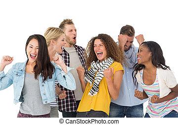 vrolijke , groep, van, jonge, vrienden, juichen