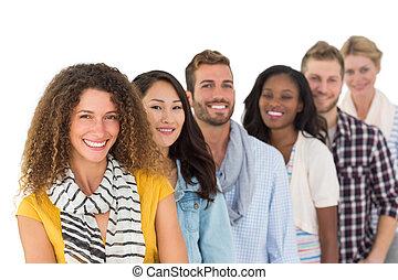 vrolijke , groep, van, jonge, vrienden, standi