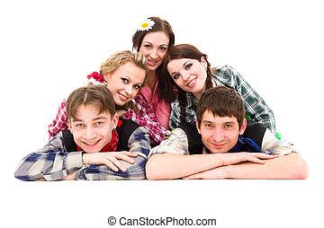 vrolijke , groep van vrienden, het glimlachen