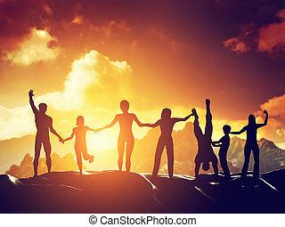 vrolijke , groepering aaneen, mensen