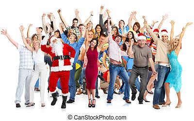 vrolijke , group., kerstmis, mensen