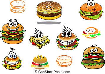 vrolijke , hamburger, spotprent, karakters, takeaway