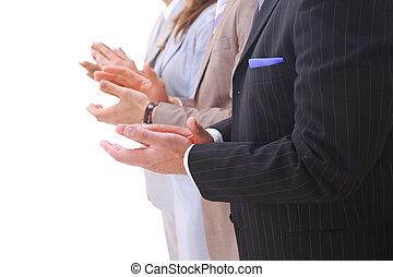 vrolijke , handel team, applauding, samen