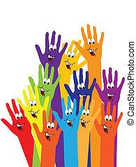 vrolijke , handen