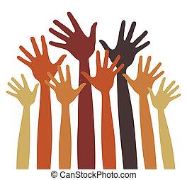 vrolijke , handen, vector., velen