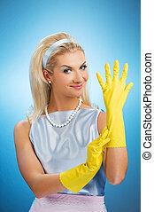 vrolijke , handschoenen, rubber, huisvrouw, mooi