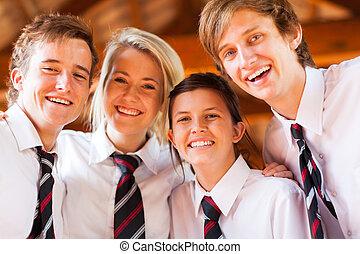 vrolijke , hoog, scholieren, groep, school