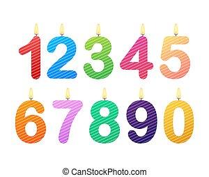 vrolijke , illustratie, kaarsje, numbers., set, vector, jarig, liggen