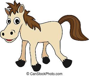 vrolijke , illustratie, paarde, schattig, bruine , spotprent, het kijken