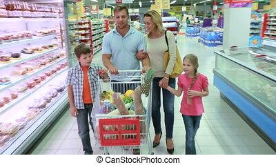 vrolijke , in, shoppen