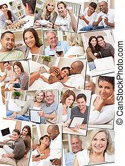 vrolijke , interracial, stellen, ontspannend thuis, montage